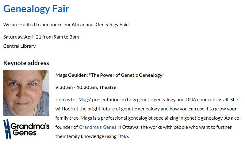 Kitchener Public Library Genealogy Fair