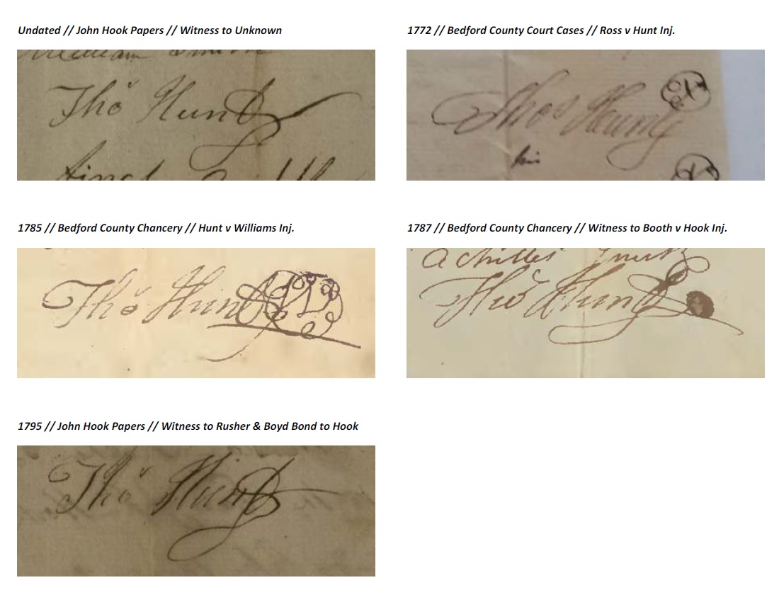 Dr. Thomas Hunts Signatures, Courtesy of Doug Hunt