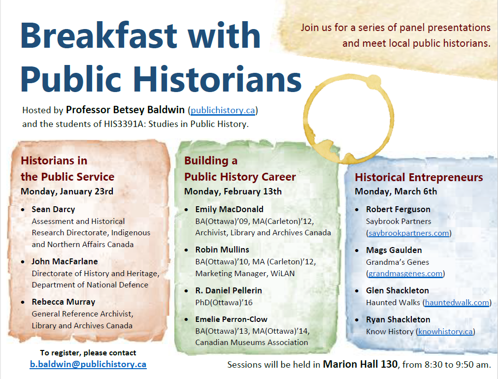 """Breakfast with Public Historians, Building a History Business"", Panel Discussion, University of Ottawa"